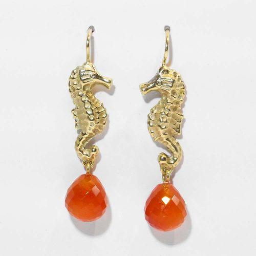 Ohrhänger Seepferdchen 585er Gelbgold mit Carneol