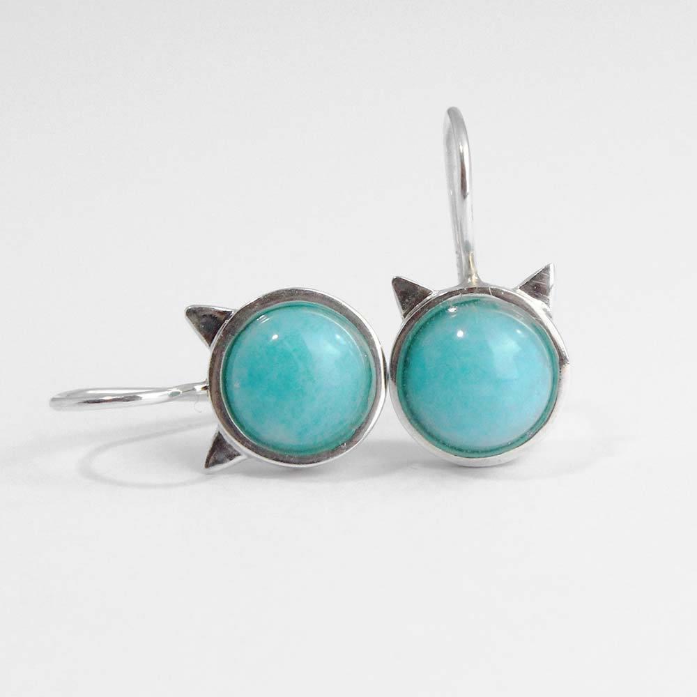 Ohrhänger Katzenkopf 925er Silber mit Amazonit