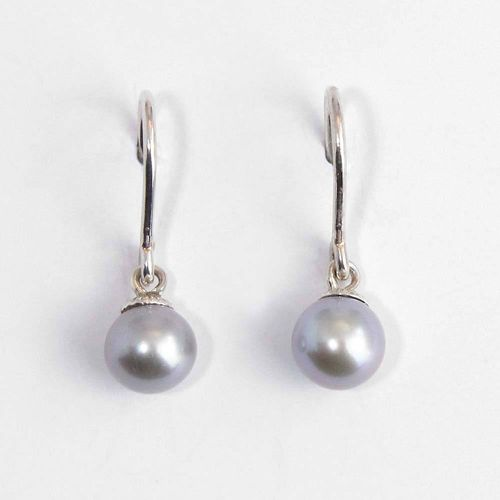 Ohrhänger 925er Silber mit grauer Süßwasserzuchtperle