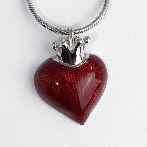 Anhänger in 925er Silber mit emailiertem Herz