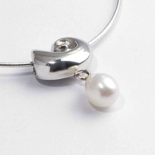 Anhänger 925er Silber Schneckenhaus mit abnehmbarer Perle