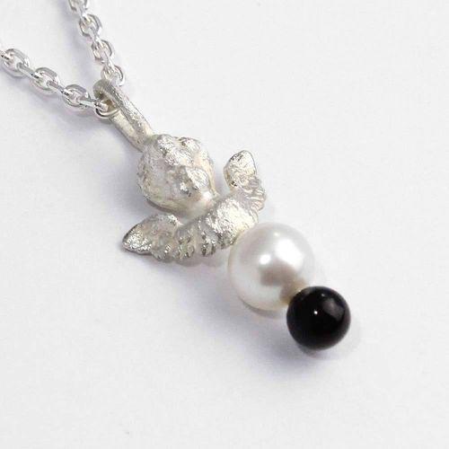 Anhänger 925er Silber Schutzengel mit Perle und Onyxkugel