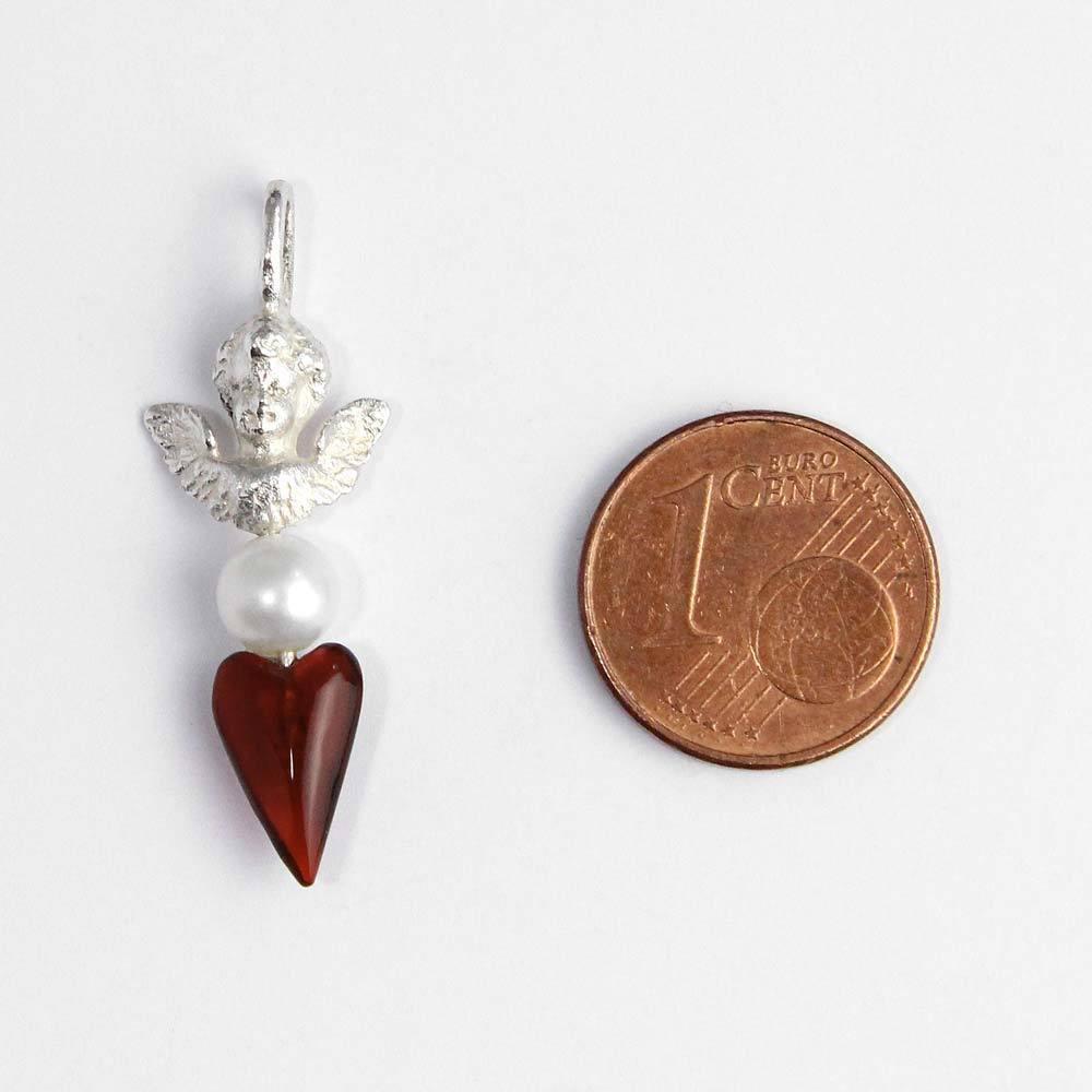 Anhänger 925er Silber Schutzengel mit Perle und Acrylherz