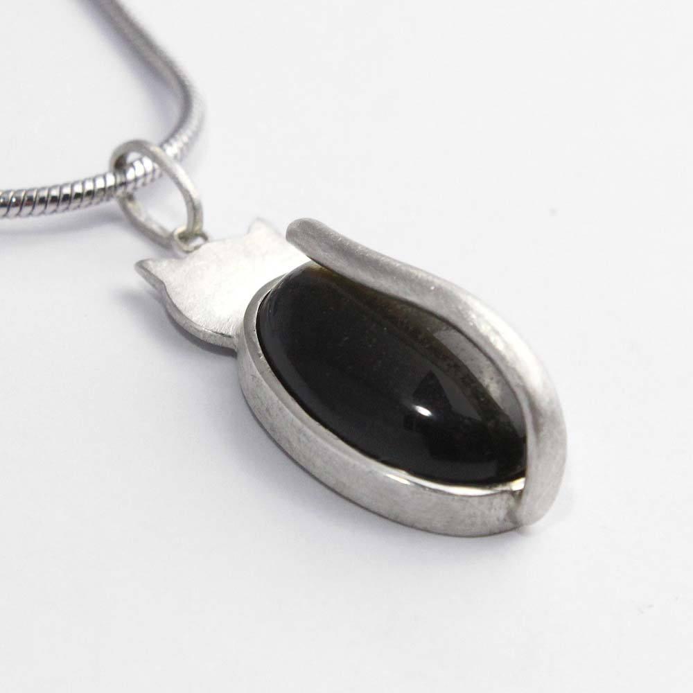 Anhänger 925er Silber mit Obsidian in Katzenform