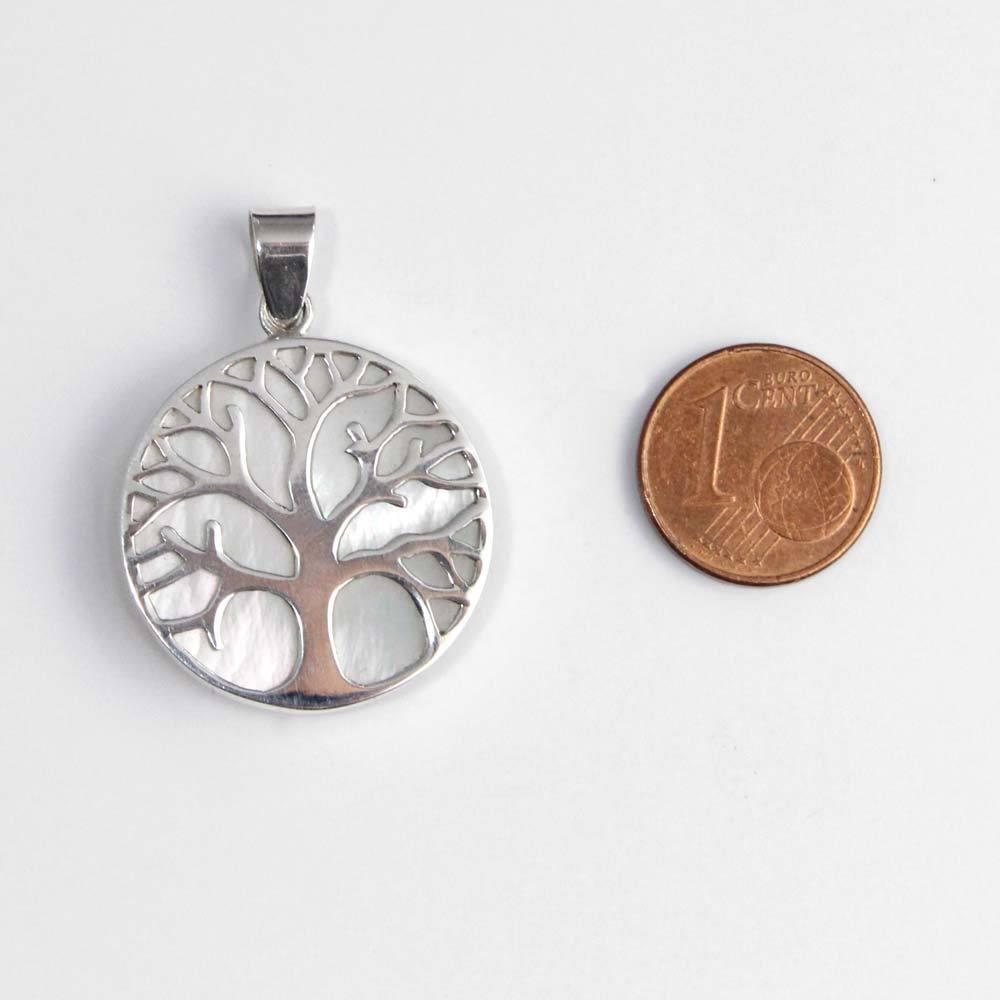 Anhänger 925er Silber Lebensbaum mit Perlmutt