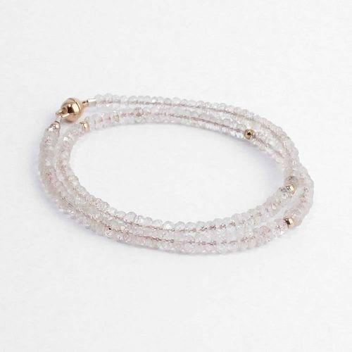 Armband aus rosa Morganit mit 585er Roségoldkugeln zum Wickeln