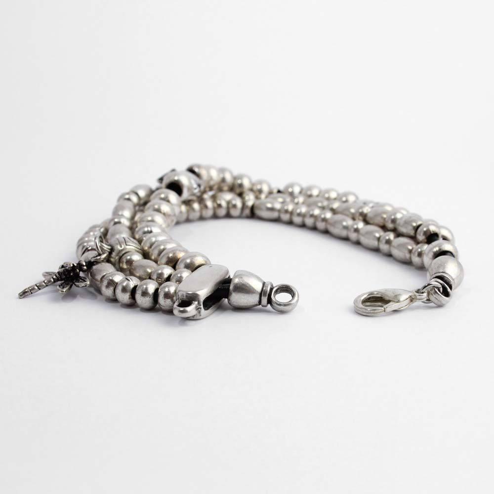 Armband aus Metallperlen, 3 reihig mit Zwischenteilen