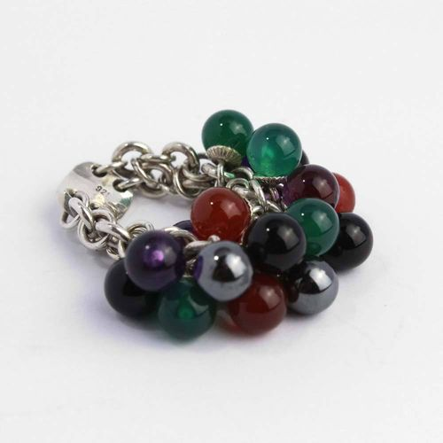 Ring aus 925er Silber mit diversen Edelsteinkugeln