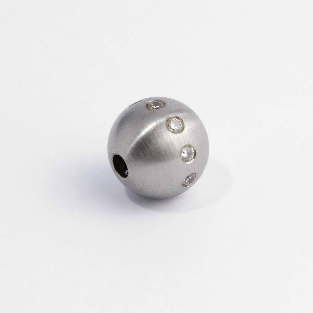 Wechselschließe Edelstahlkugel mit Zirkonia für Wechselschmuck-Ketten
