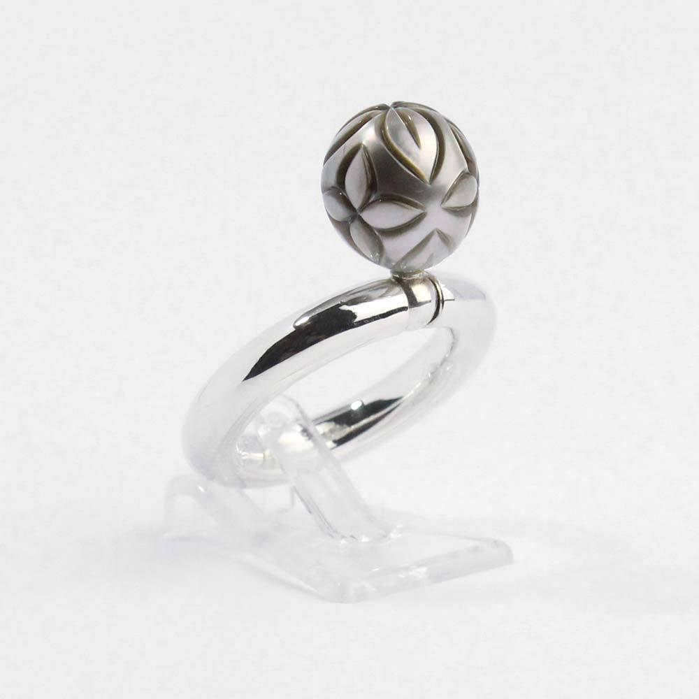 """Ring 925er Silber """"Swing"""" mit echter gravierter Tahitizuchtperle"""
