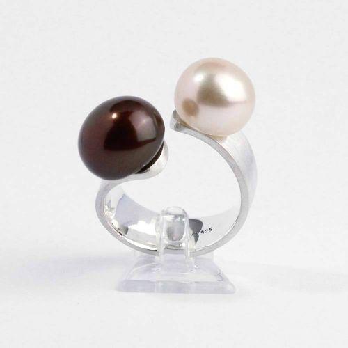 Ring 925er Silber mit echten Süßwasser Boutonperlen