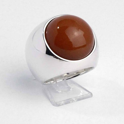 Ring 925er Silber massiv gearbeitet mit Aventurin orange