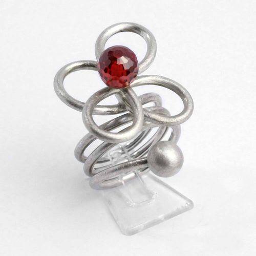 "Ring 925 Silber ""Blüte"" mit orangeroter Zirkoniakugel"