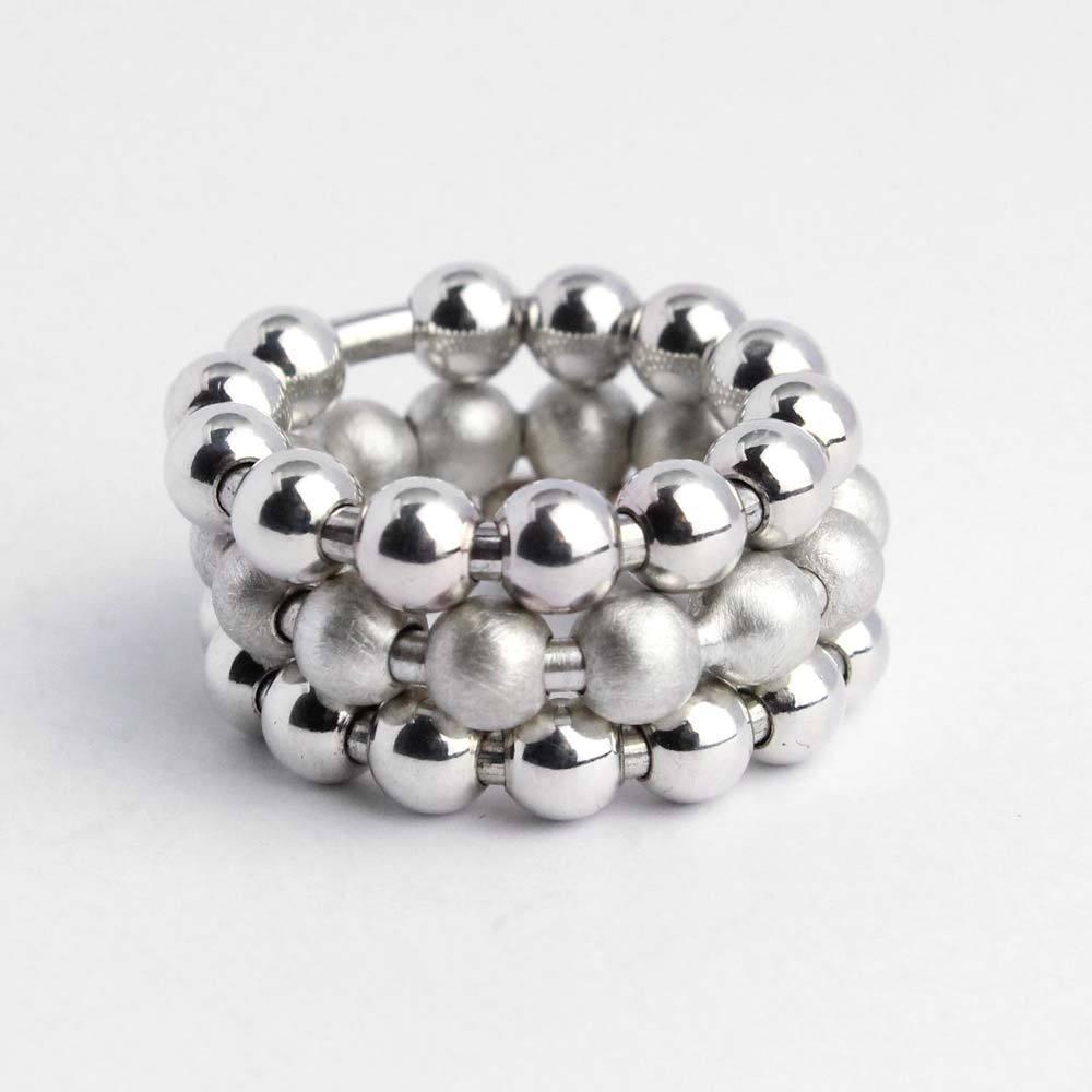 Ring 925er Silber mit beweglichen Kugeln glänzend