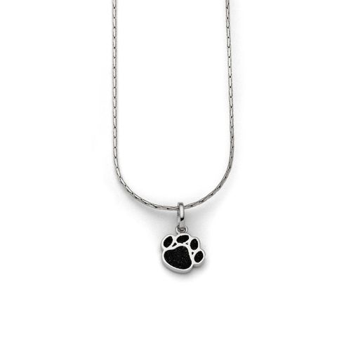 Kette Pfote Lavasand schwarz 42cm Silber rhodiniert