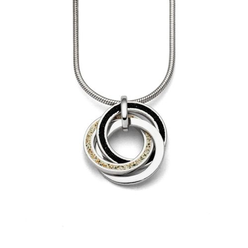 """Anhänger """"Marina"""" mit drei kleinen Ringen Sand-Lavasand-Silber"""