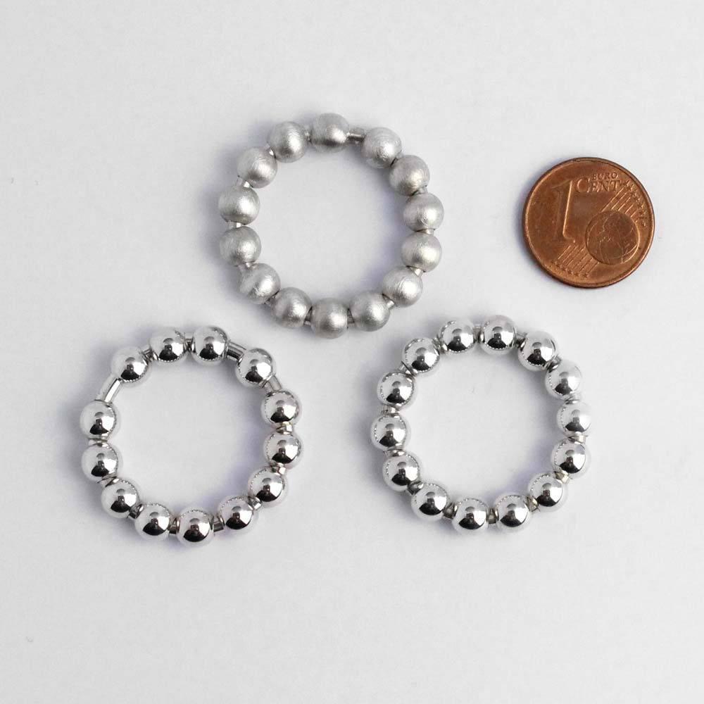 Ring 925er Silber mit beweglichen Kugeln matt