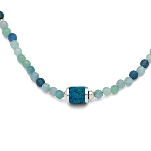 Halskette Wasserspiel Moosquarz Silber