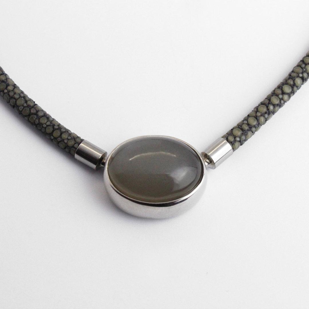 Wechselschließe 925er Silber mit Mondstein in grau