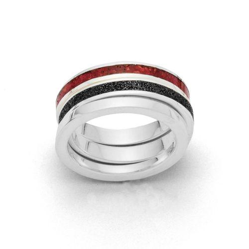 Erde und Feuer - dreifach Ring - 925/- Silber